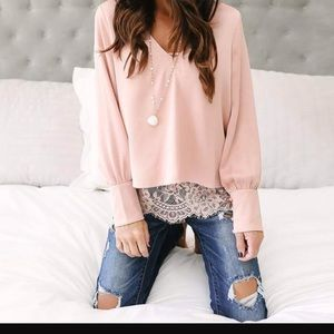 Tops - COMING SOON - Blush faux double layer lace blouse